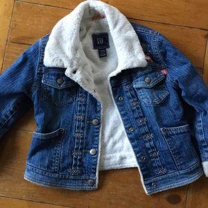 Toddler girl Gap stretch embroidered denim jacket